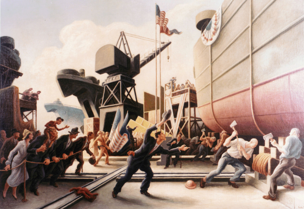 030129-N-0000X-001 Washington Navy Yard (Jan. 29, 2003) -- One piece of a new 24 piece Navy Art Collection traveling exhibit by famed 20th Century artist Thomas Hart Benton. This 1944 artwork ÒCut the LineÓ shows the launch of a Tank Landing Ship (LST). Mr. Benton is considered by many art critics to be the quintessential American artist of the 20th Century, and during World War II was commissioned by Abbott Laboratories to produce artworks about the Navy. All of Mr. BentonÕs World War II Navy art can be viewed online at the Naval Historical Center web site: www.history.navy.mil/ac/benton/benton1.htm U.S. Navy photo. (RELEASED)