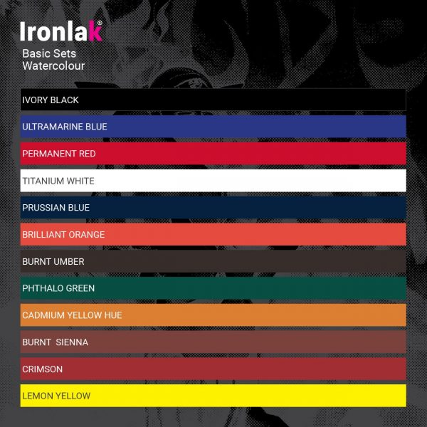 Ironlak Basic Watercolour Paint Set Swatches