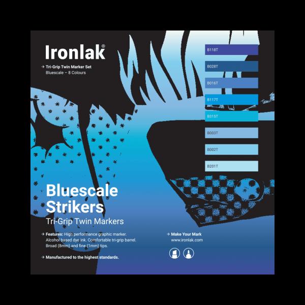 Ironlak Strikers Bluescale Graphic Marker 8 Pack - Broad Nib