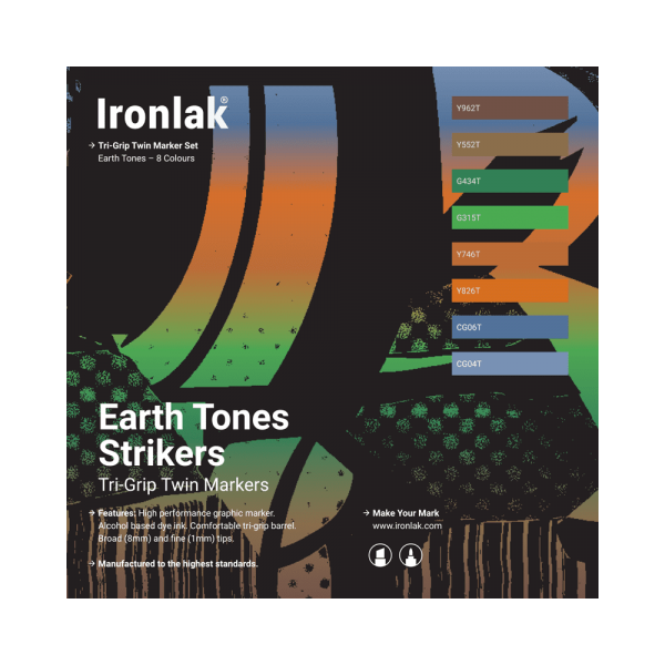 Ironlak Strikers Earth Tones Graphic Marker 8 Pack - Broad Nib