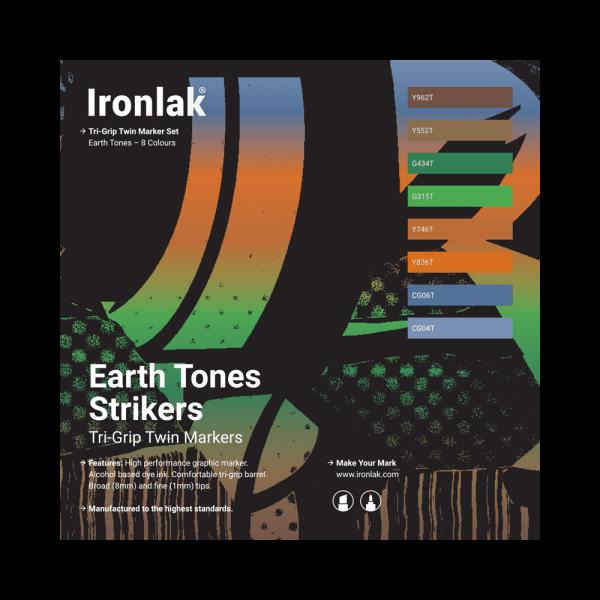 Ironlak Strikers Earth Tones Graphic Marker 8 Pack - Broad Nib