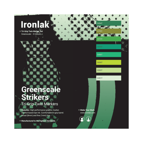 Ironlak Strikers Greenscale Graphic Marker 8 Pack - Broad Nib