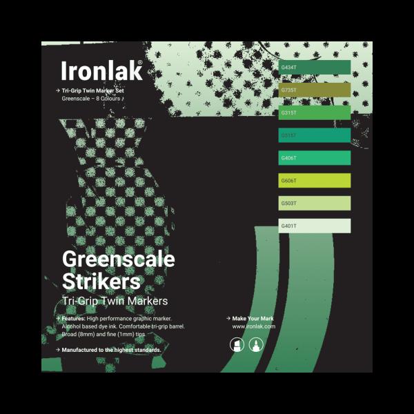 Ironlak Strikers Greenscale Graphic Marker 8 Pack - Broad Nib