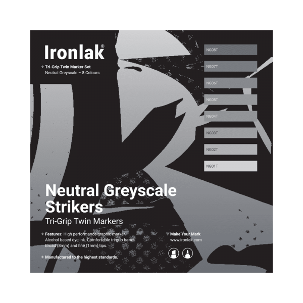 Ironlak Strikers Neutral Greyscale Graphic Marker 8 Pack - Broad Nib