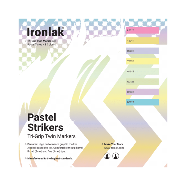 Ironlak Strikers Pastel Tones Graphic Marker 8 Pack - Broad Nib