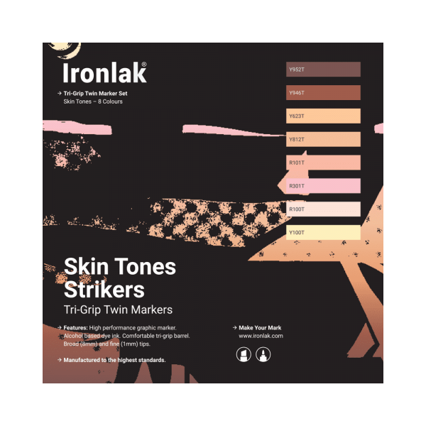 Ironlak Strikers Skin Tones Graphic Marker 8 Pack - Broad Nib