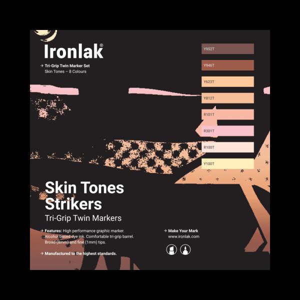 Ironlak Strikers Skin Tones Graphic Marker 8 Pack - Broad Nib