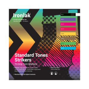 Ironlak Strikers Standard Tones Graphic Marker 8 Pack - Broad Nib