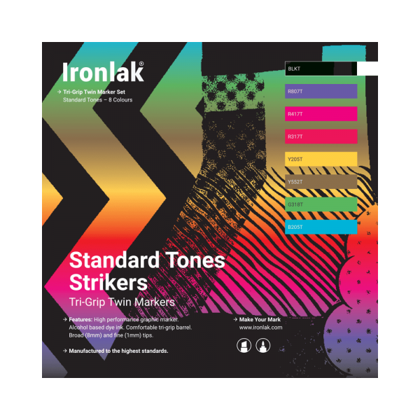 Ironlak Strikers Standard Tones Graphic Marker 8 Pack - Broad Nib