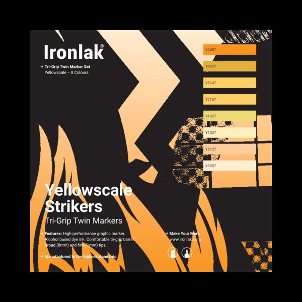Ironlak Strikers Yellowscale Graphic Marker 8 Pack - Broad Nib
